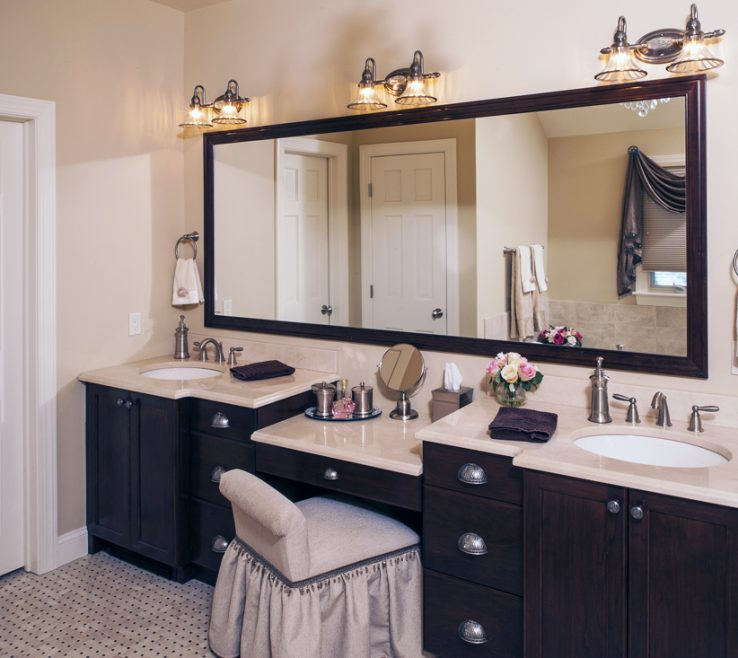 Entrancing His And Her Bathroom Vanities Of With Makeup Desk Epic Example
