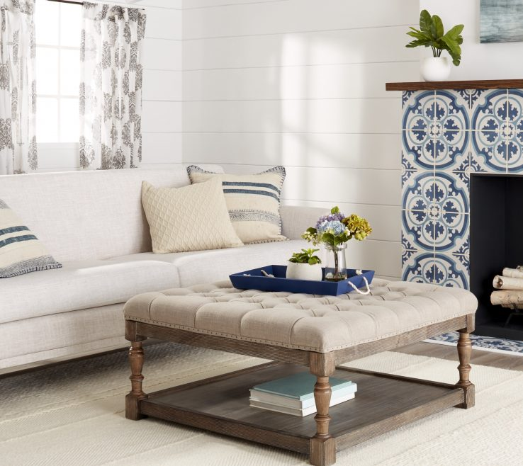 Entrancing Living Room With Ottoman Of Image Is Loading Tufted Ottoman Bench Creston Beige Linen Modern Living