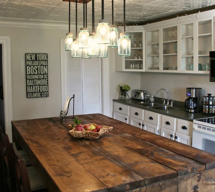 Entrancing Rustic Kitchen Designs Of 11. Tin Ceiling + Heavy Wood =
