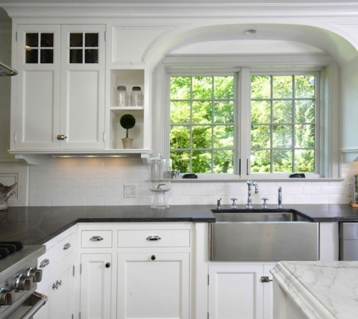 Entrancing White Kitchen Black S Of Classic And With Glass Window