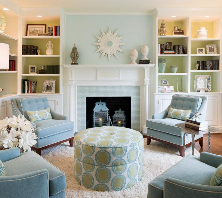 Exquisite Blue And Green Living Room Of Traditional Style With Modern Twist