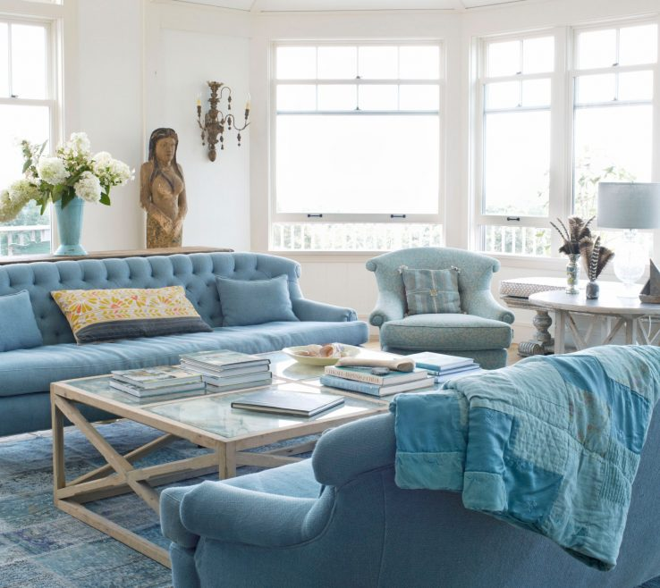 Eye Catching Blue And Green Living Room