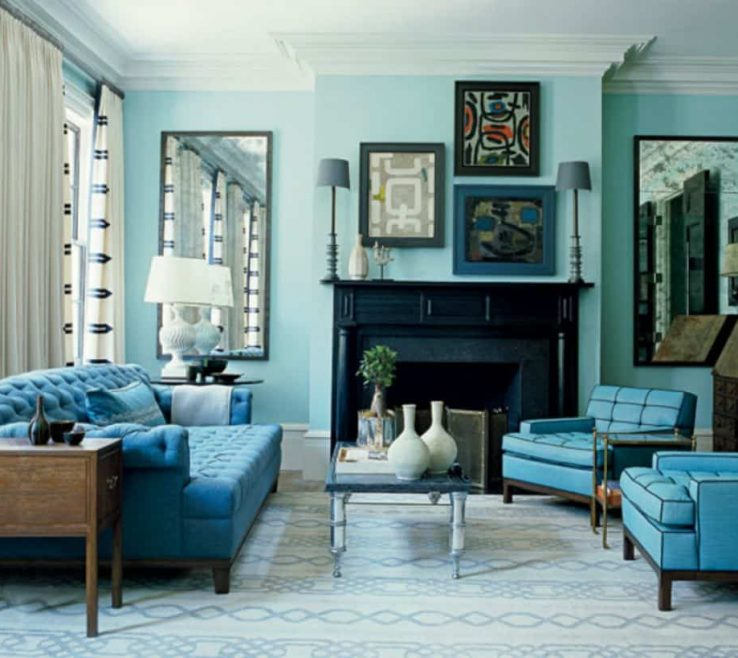 Eye Catching Monochromatic Living Room Of Coastal With Color Schemes And Blue Oversized