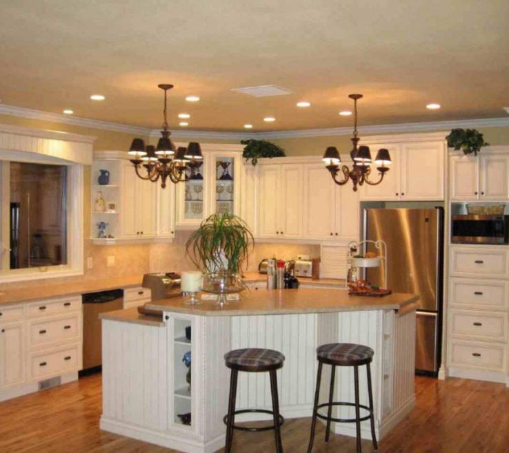 Eye Catching Small Kitchen Design With Island Of White Ry And White Black Stools