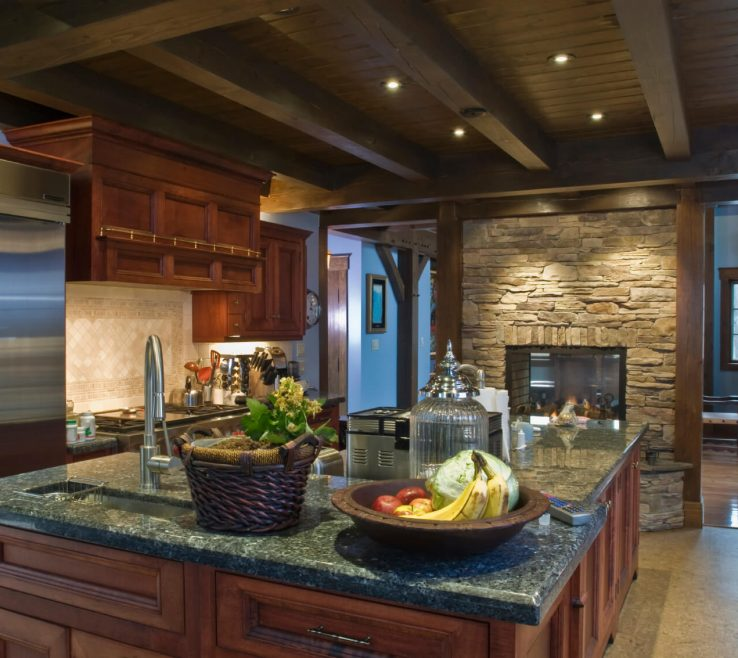 Fascinating Dark Kitchen S Of Rustic Look Features Brick Pass Through Fireplace Under