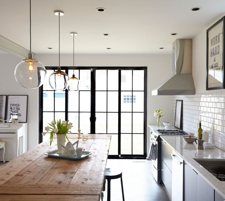 Fascinating Kitchen Pendant Lights Images Of Three From West Elm Are Suspended Over