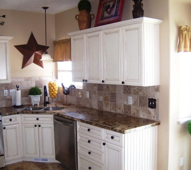 Fascinating White Rustic Kitchen Of Good S With Granite S