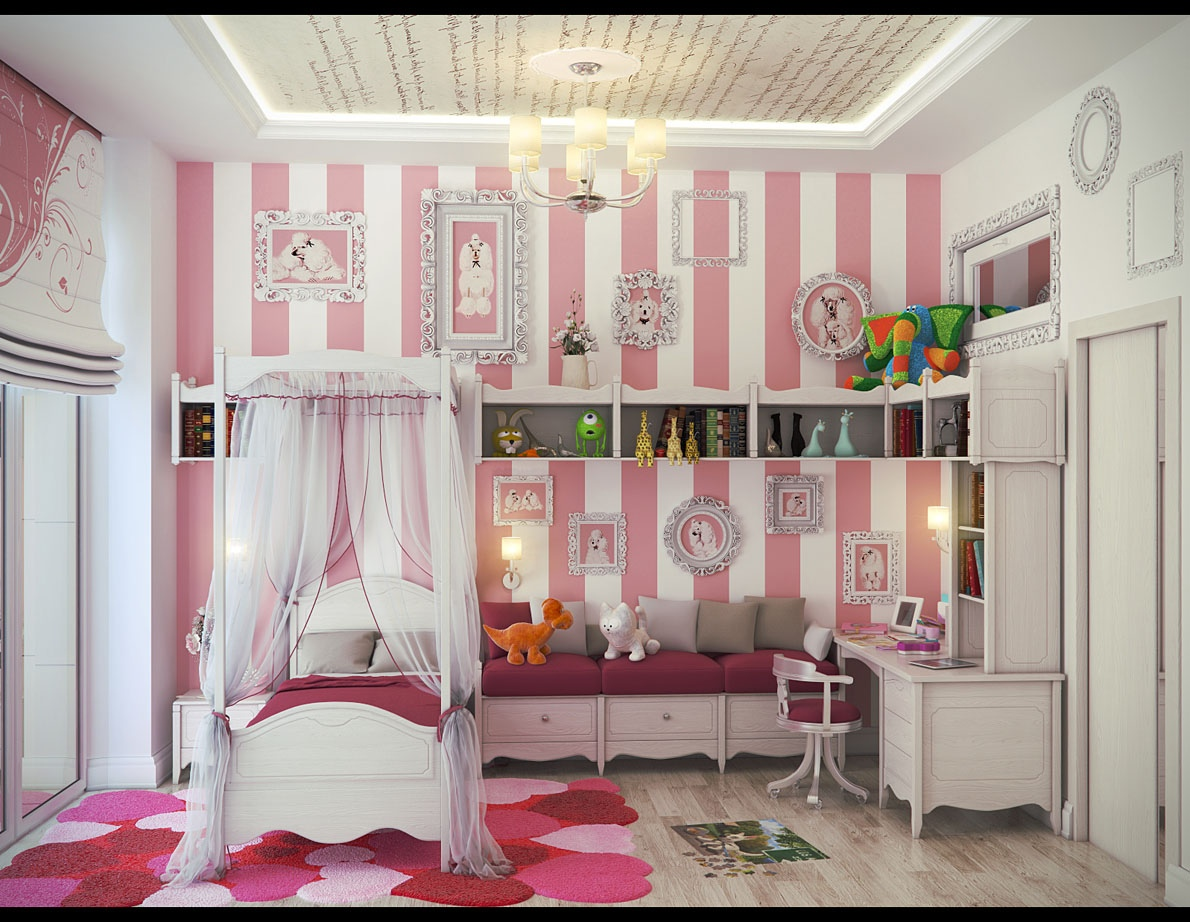 S Bedroom Wall Decor Of Inspiring Youth Ideas Showing Pink White Striped