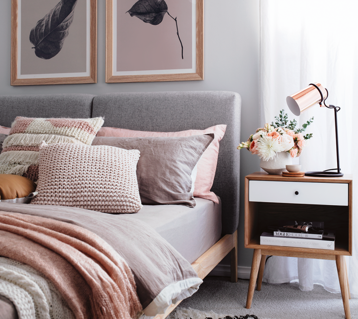 Gray Bedroom Decor Of Cosy In Peach And Grey In 2018