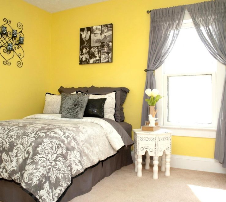 Gray Bedroom Decor Of Delightful Yellow Walls Full Size And Grey