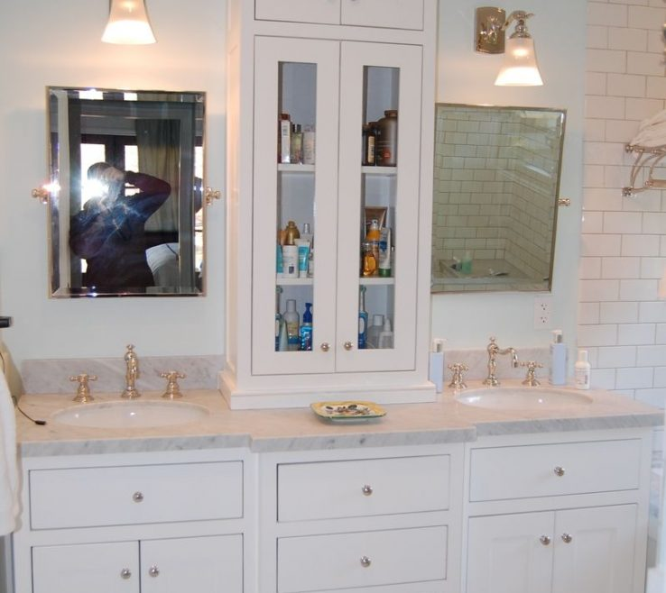His And Her Bathroom Vanities Of Custom Made White Vanity With Tower