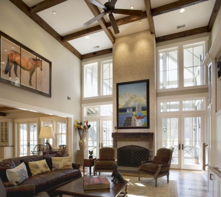 Impressing High Ceiling Living Room Of Impressive With Fancy Wood Hanging Fan And