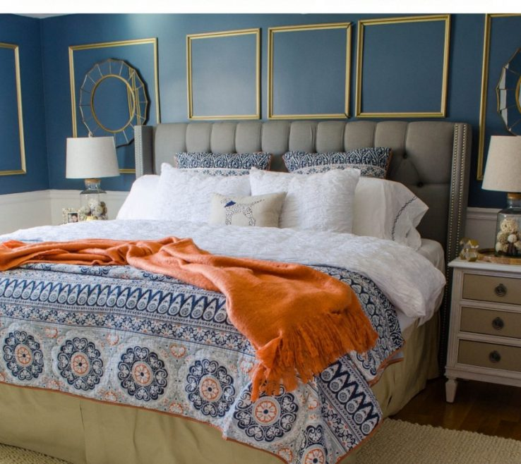 Impressive Blue Master Bedroom Of Navy Gold Makeover