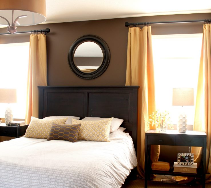 Impressive Master Bedroom Paint Of Master Bedroom Painted A Dark Paint Colour Benjamin Moore Brown Horse With Yellow And Gold Accent Colours Dark Wood And Lamps