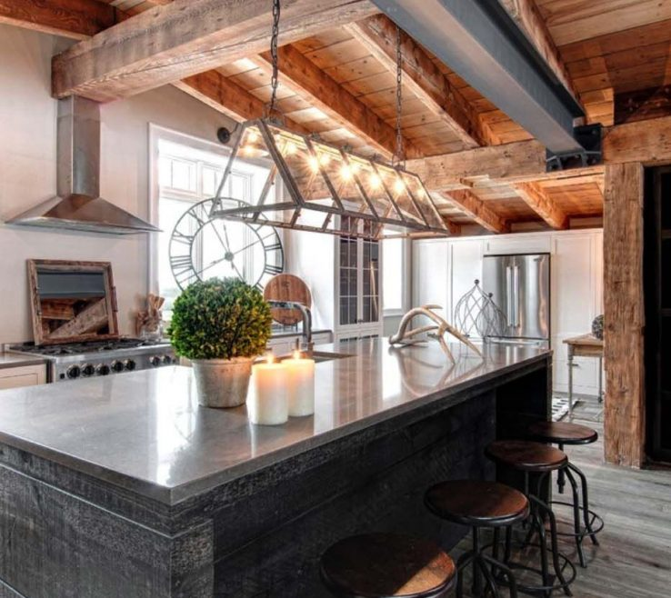 Impressive Rustic Contemporary Kitchen Of Luxury Canadian Home Reveals Splendid Rustic Modern Aesthetic