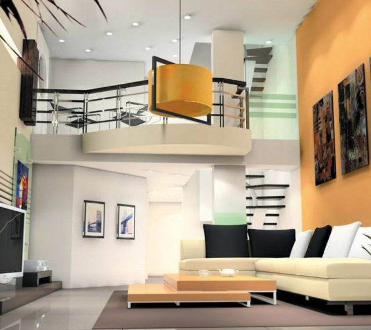 Inspiring High Ceiling Living Room Of Design With Yellow Drum Lamp Also Modular