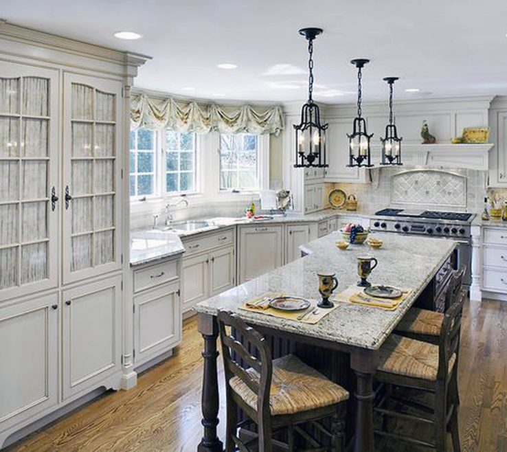 Inspiring White Rustic Kitchen Of Decoration: French Country Ideas Also Island