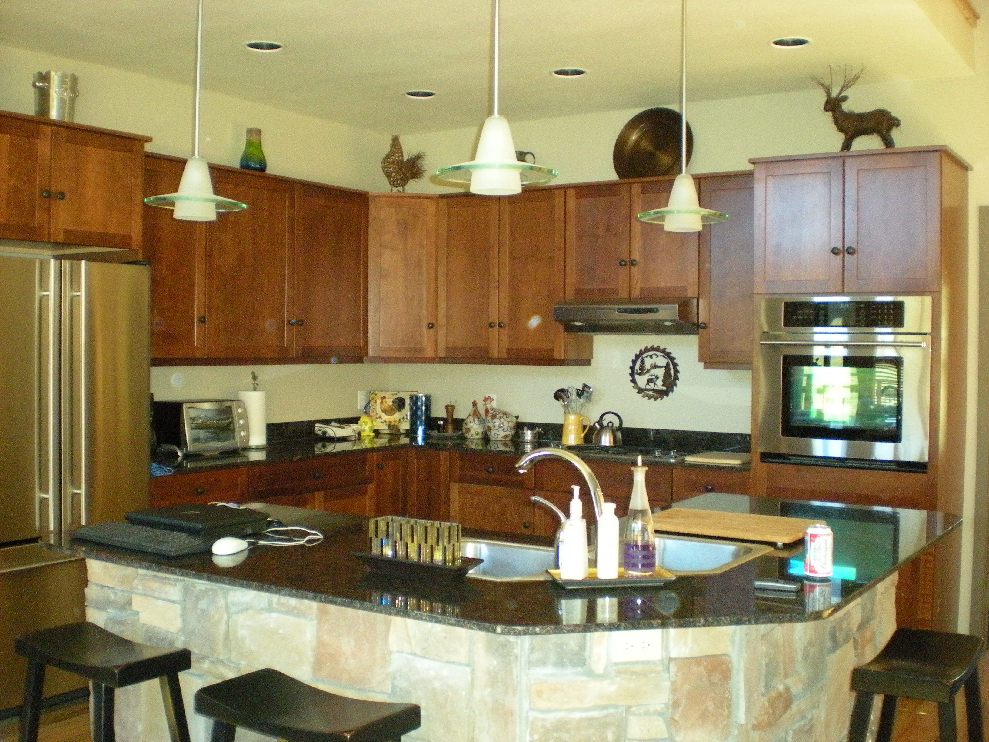 Kitchen Island With Sink Of Corner Pantry And In Floor