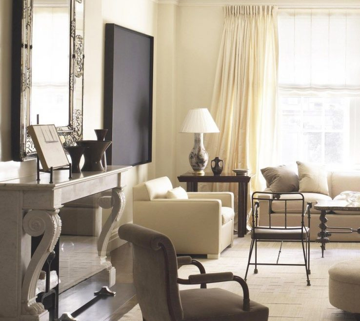 Likeable Monochromatic Living Room Of Neutral, In Shades Of Ivory And Cream