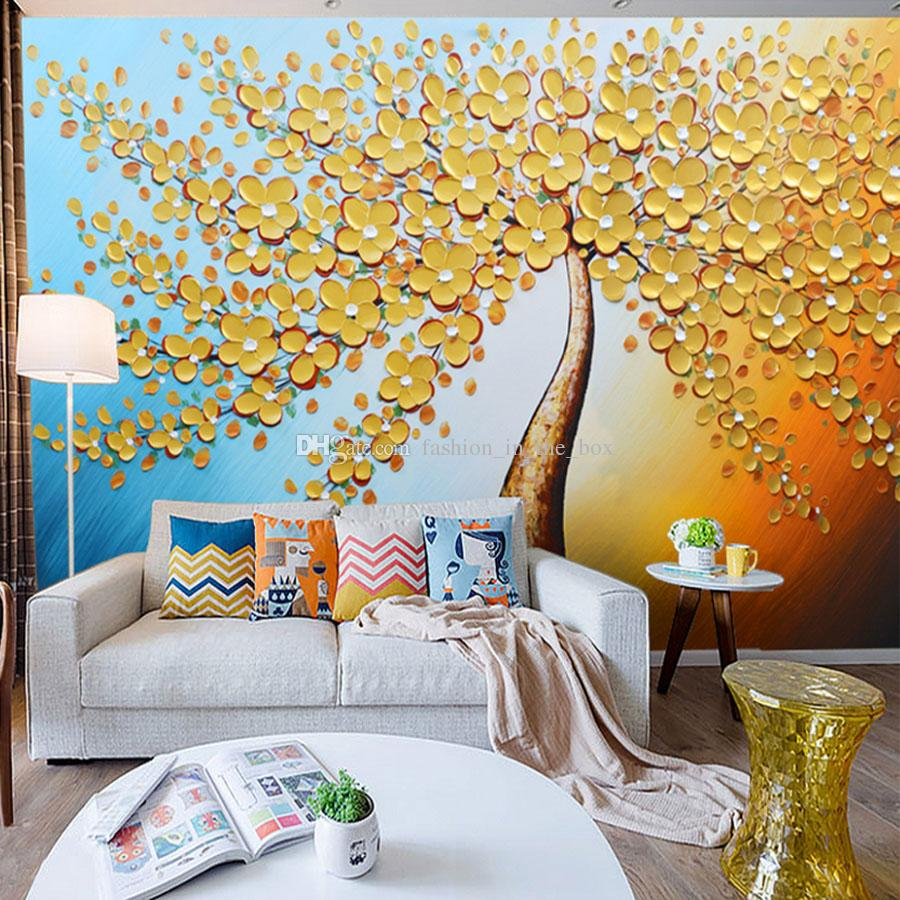 Living Room Wall Murals Of Knife Painting Mural Golden Tree