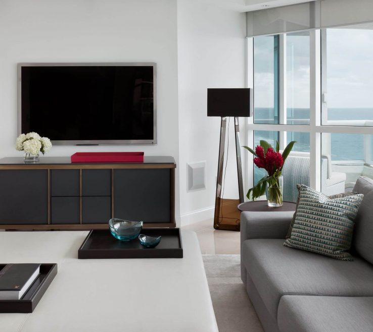 Living Room With Ottoman Of Slick Textures In This Modern Include Minimalist