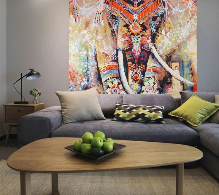Lovely Living Room Tapestry Of Contemporary Jiamingyang Elephant Print Wall