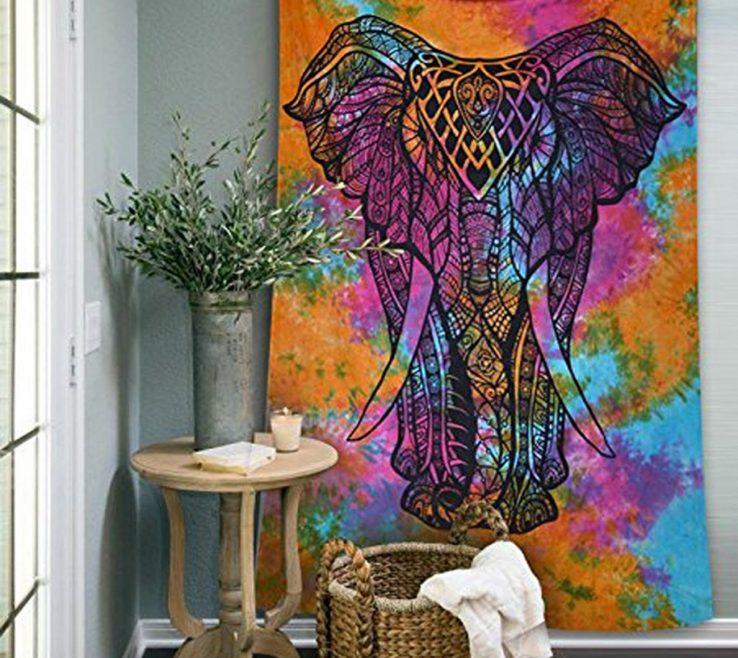 Lovely Living Room Tapestry Of Galleryn Mandala Bohemian Twin Tie Dye Elephant