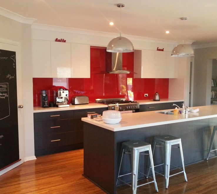 Magnificent Red Kitchens Of Kitchen Splashback, Charcoal And White. Manufactured And