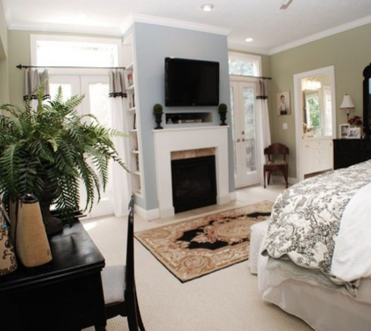 Master Bedroom With Fireplace Of Black Table Chair Entertainment Center Bookshelves And