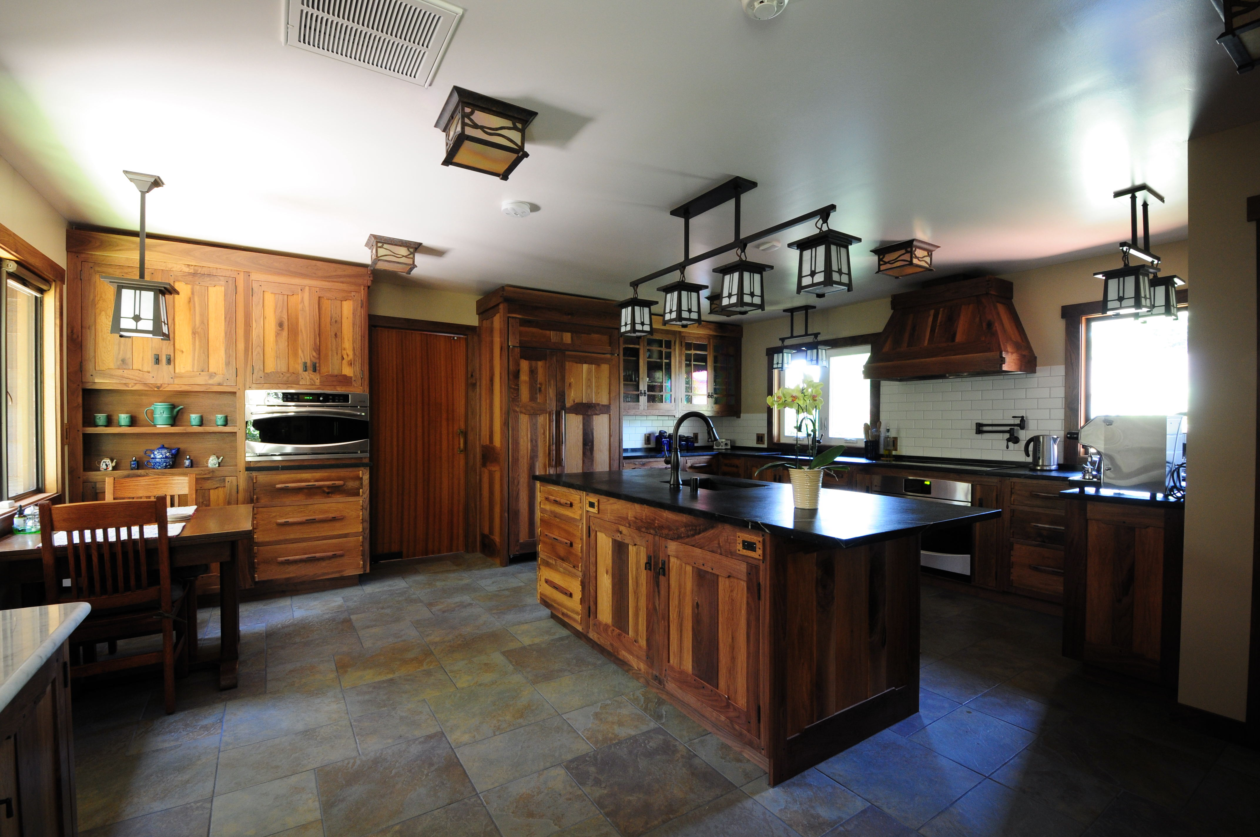 Picturesque Black Marble Kitchen S Of Wooden With And Cool Pendant