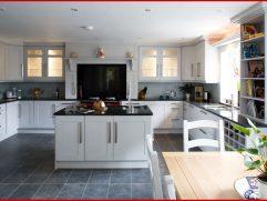 White Kitchen Black Countertops