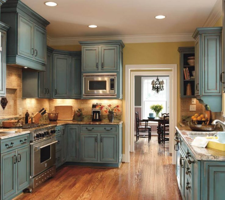 Rustic Kitchen Designs Of Mediterannean Blue
