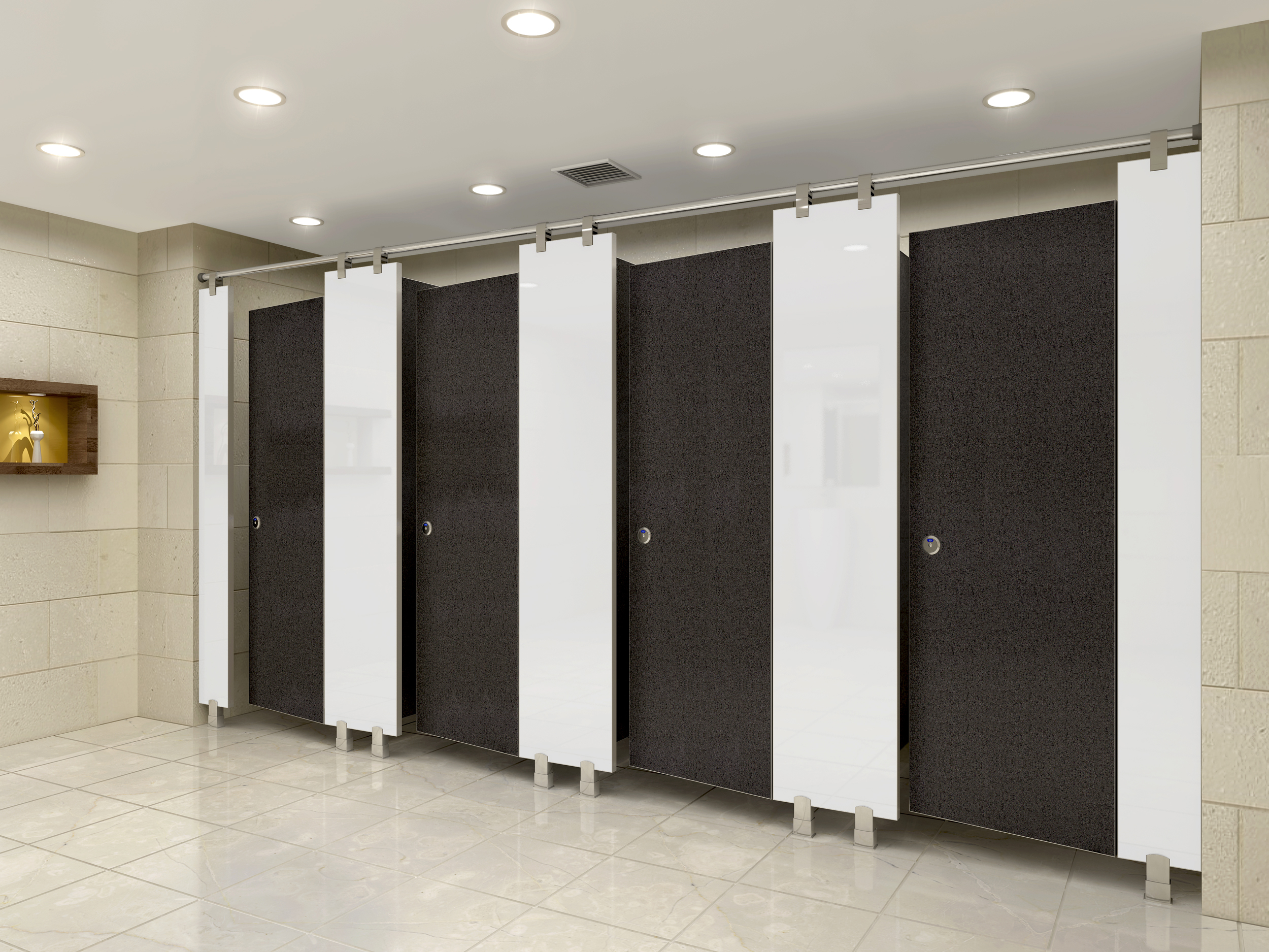 Sophisticated Bathroom Partition Walls Of Ceiling Hung Aka Floating Toilet Partitions These