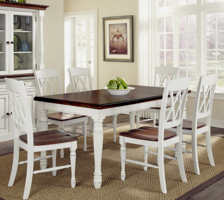 Sophisticated Dining Table With Different Chairs Of Home Styles Monarch White/oak 7 Piece Set