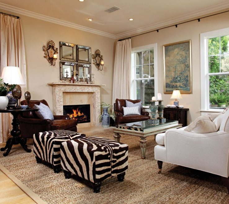 Sophisticated Living Room With Ottoman Of Image Of Sets