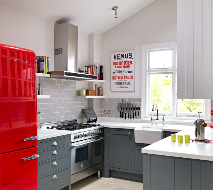Sophisticated Tiny Kitchen Design Of 13. A Cherry Red Fridge Is The