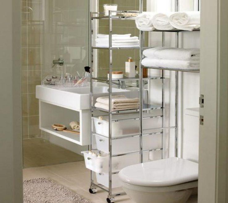 Sophisticated Very Small Bathroom Storage Ideas Of Round Aluminium Light Recessed Ceiling Lamp