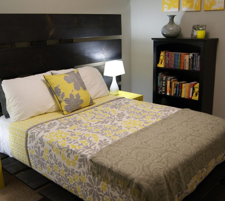 Superbealing Gray Bedroom Decor Of Modern Idea With And Yellow Decoration