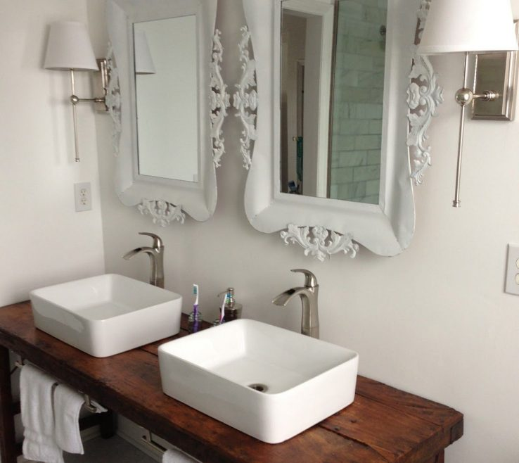 Superbealing His And Hers Bathroom Sinks Of White With Vessel Wood Table As Vanity