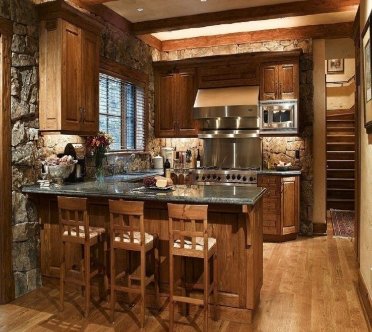 Superbealing Rustic Style Kitchen Of Lodge Wooden Country Country Accessories