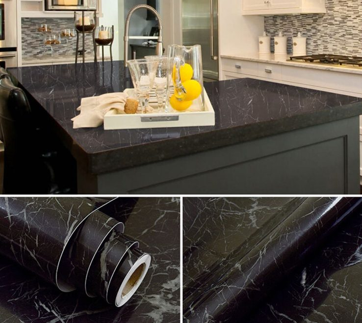 Terrific Black Marble Kitchen S Of Waterproof Vinyl Self Adhesive Wallpaper Sticker Modern