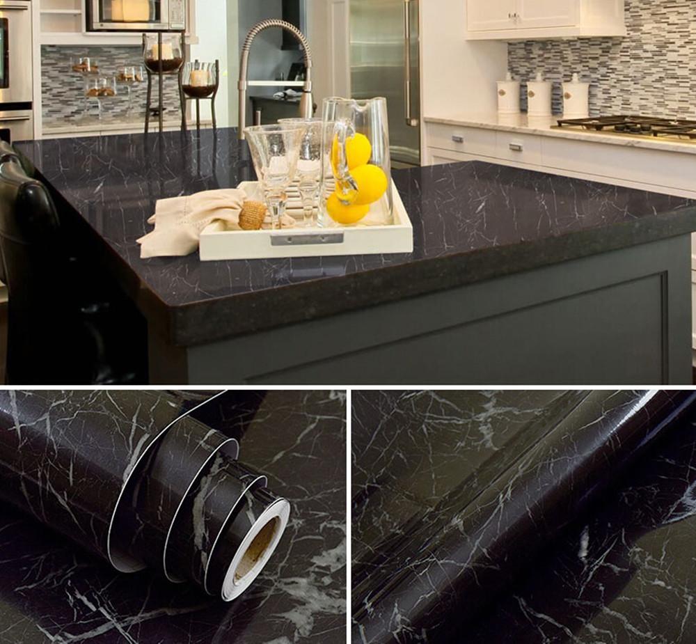Terrific Black Marble Kitchen S Of Waterproof Vinyl Self Adhesive Wallpaper Sticker Modern