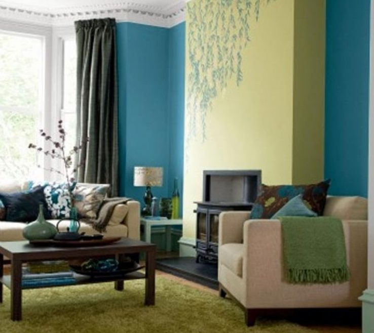 Terrific Blue And Green Living Room Of Brown Ideas Walls Home Design Ideas