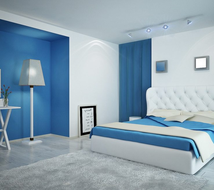 Terrific Blue Master Bedroom Of Light Layout