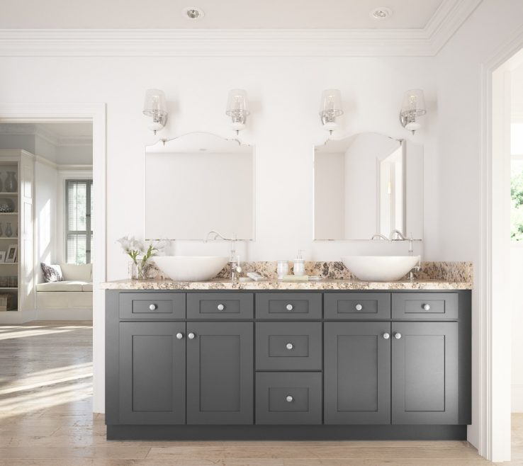 Terrific His And Her Bathroom Vanities Of Grey Shaker