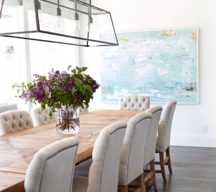Terrific Lighting Over Dining Room Table Of Beachy Beadboard Ceiling, Linear Light