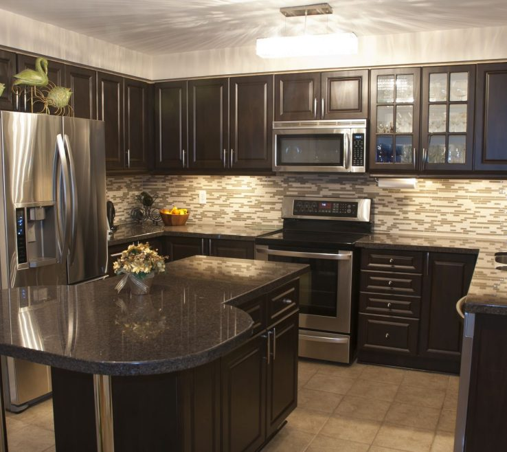 Unique Black Marble Kitchen S Of Cozy Is Stuffed With Dark Wood Ry