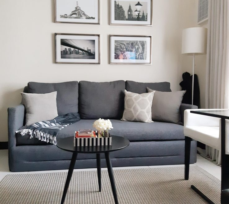 Unique Monochromatic Living Room Of Tiny