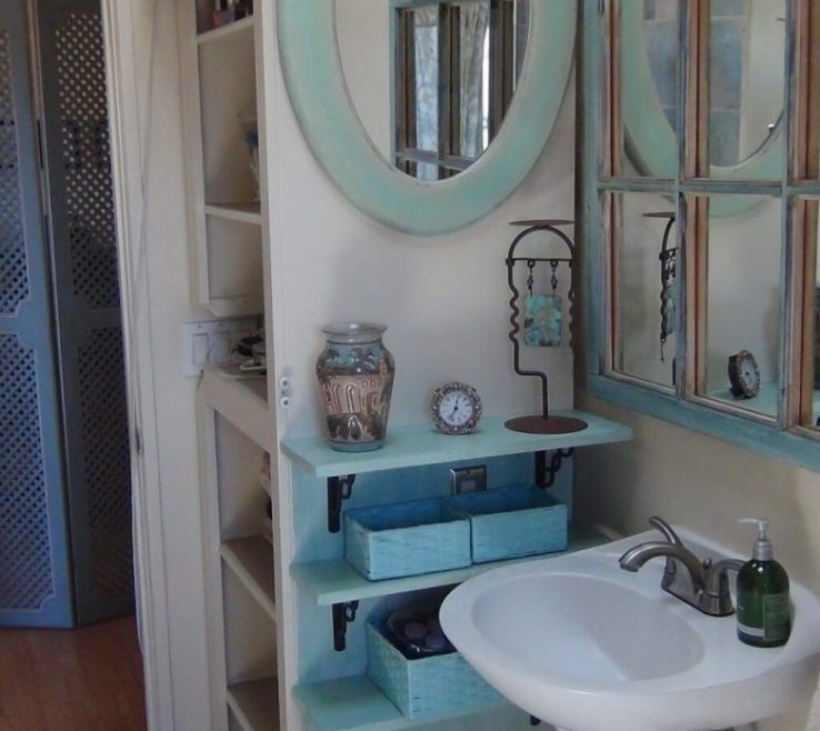 Unique Very Small Bathroom Storage Ideas Of Professional Organizer Beside Pedestal Sink And Blue