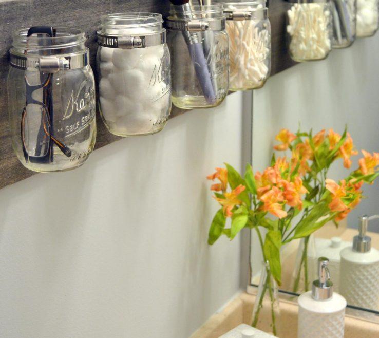 Very Small Bathroom Storage Ideas Of With Mason Jars